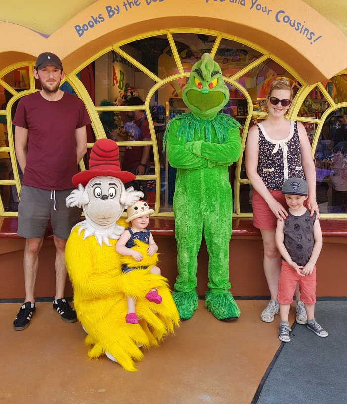 Meeting The Grinch and Sam-I-Am in Suess Landing